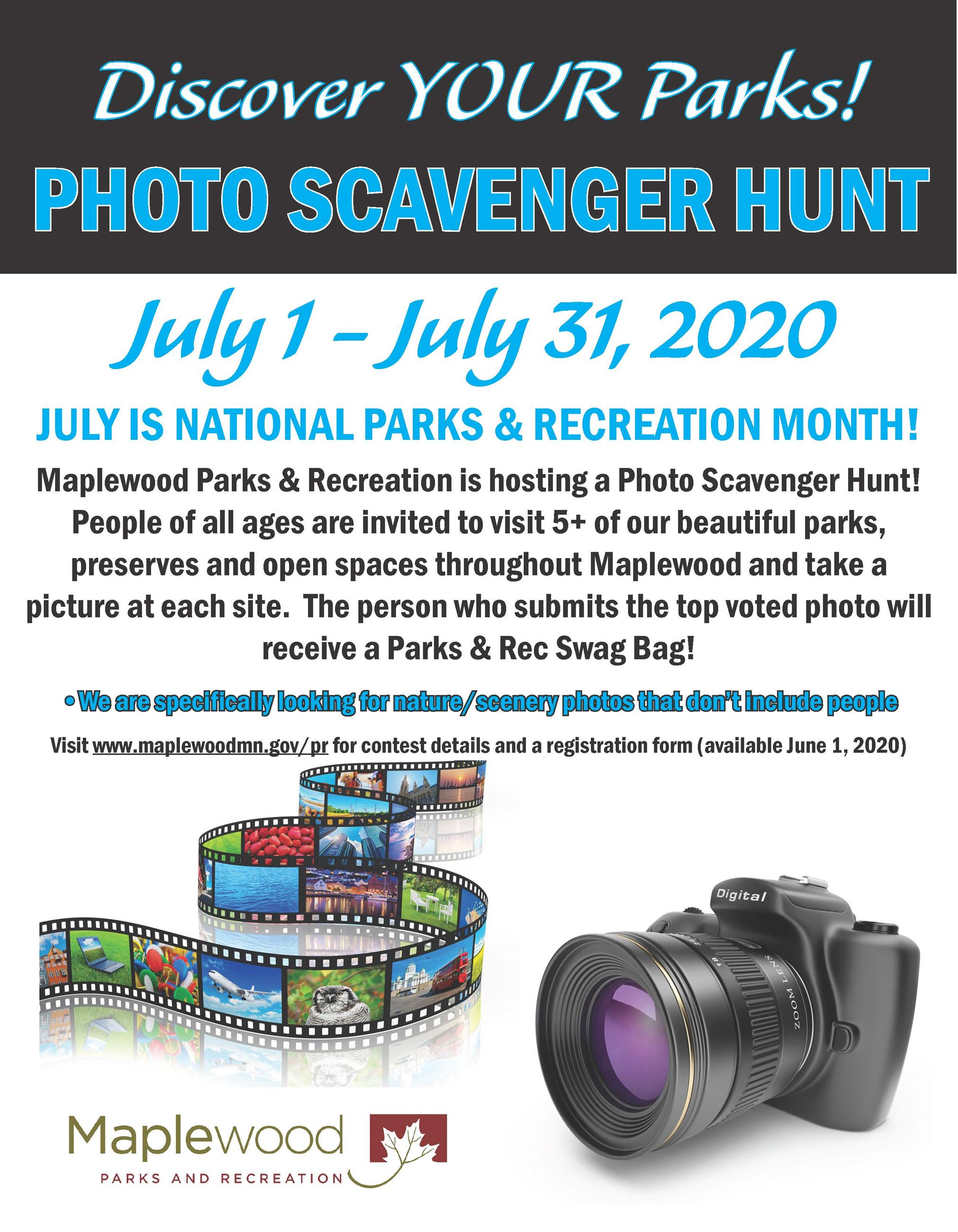 Photo Scavenger Hunt take pictures at 5 different parks winner has their photo featured