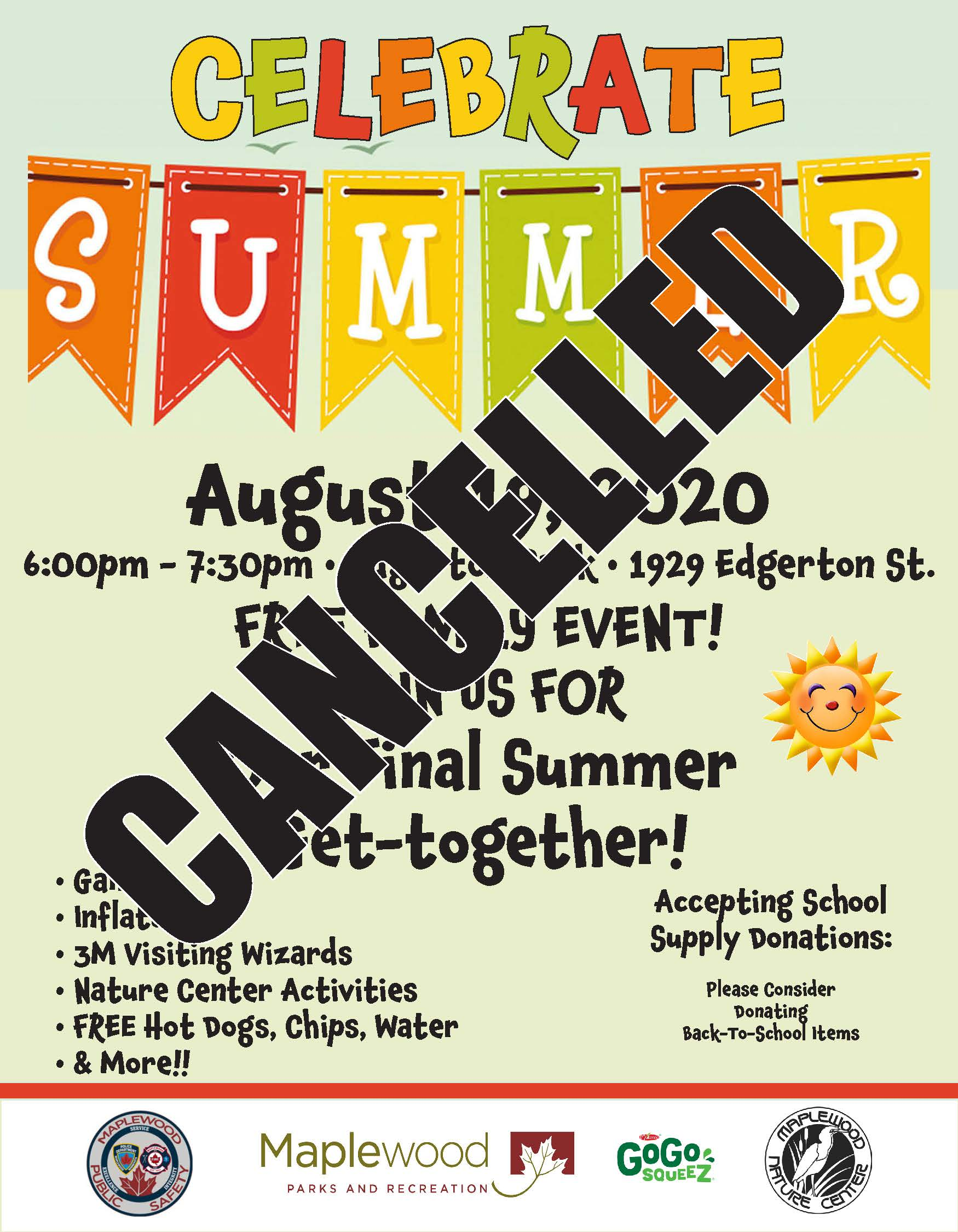 Celebrate Summer August Event Edgerton Park August 19 6pm-7:30pm Free Admission