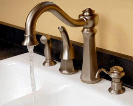 Sink faucet running water